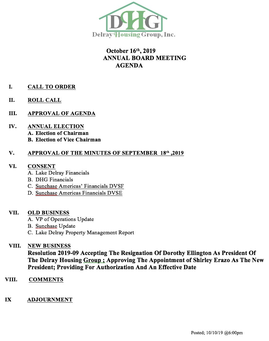 Annual Board Meeting - Oct 16th, 2019