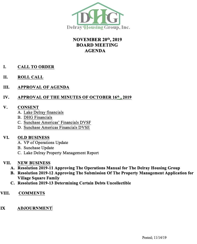 Agenda - Regular Board Meeting Nov 20th, 2019