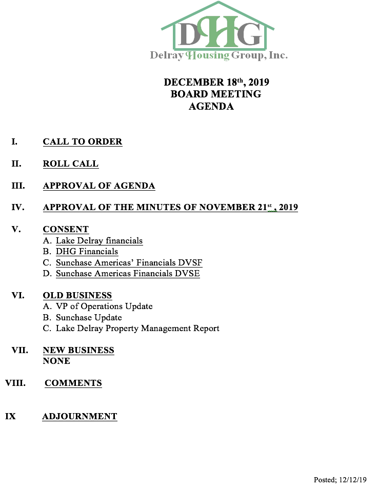 Agenda - Regular Board Meeting Dec 18th, 2019
