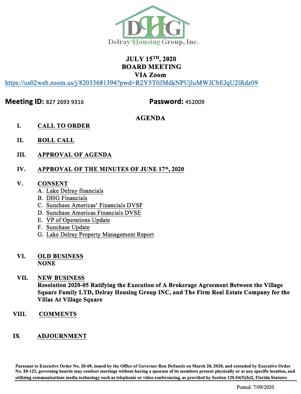 Agenda - Board Meeting - Jul 15th, 2020