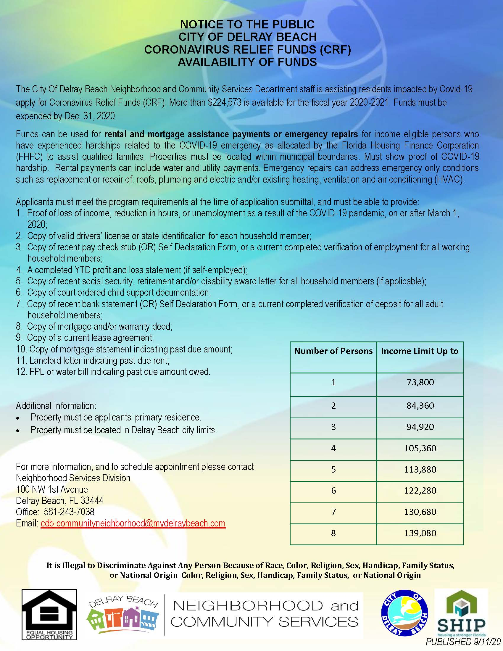 CRF Notice of Funds for families who need resources