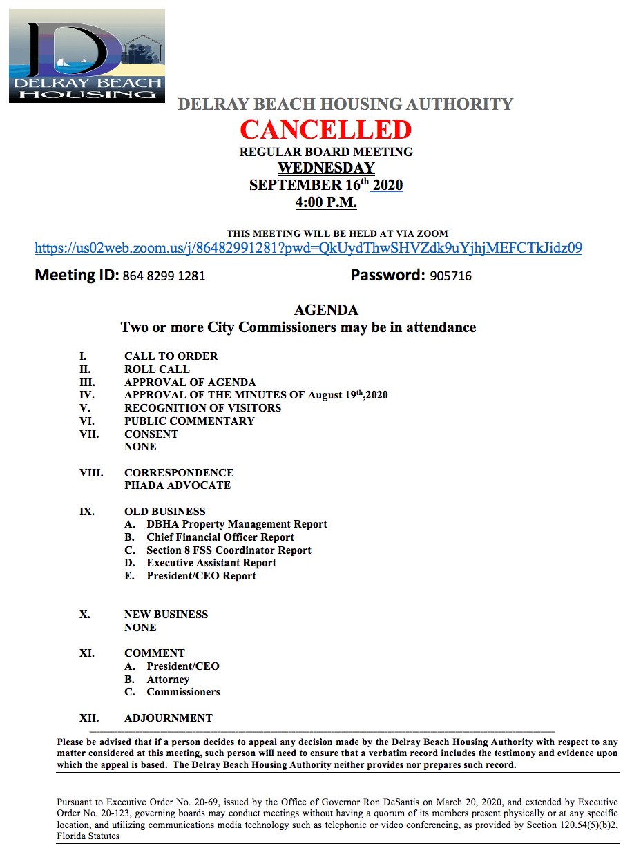 Agenda - Board Meeting - Sep 16th, 2020