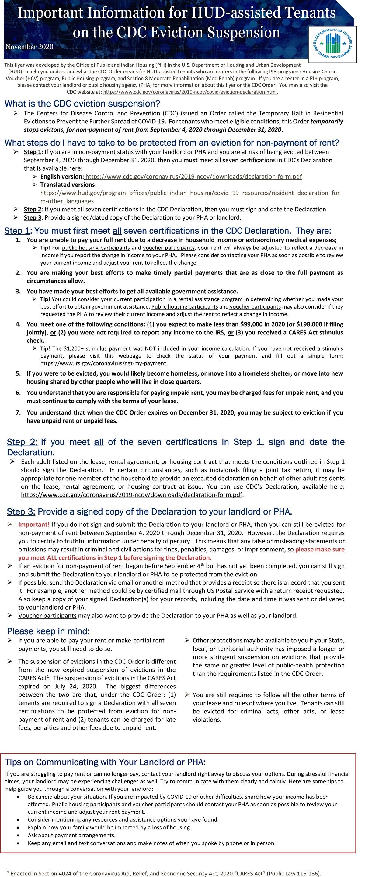 OPHVP CDC Order Tenant