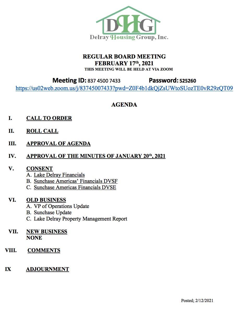 Agenda - Board Meeting - Feb 17th, 2021